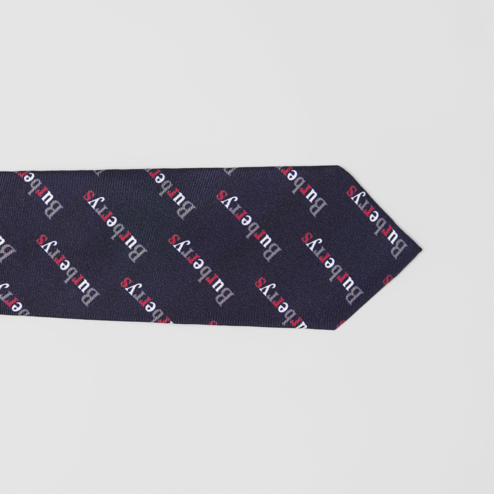 Slim Cut Archive Logo Print Silk Tie in Navy - Men | Burberry - gallery image 1