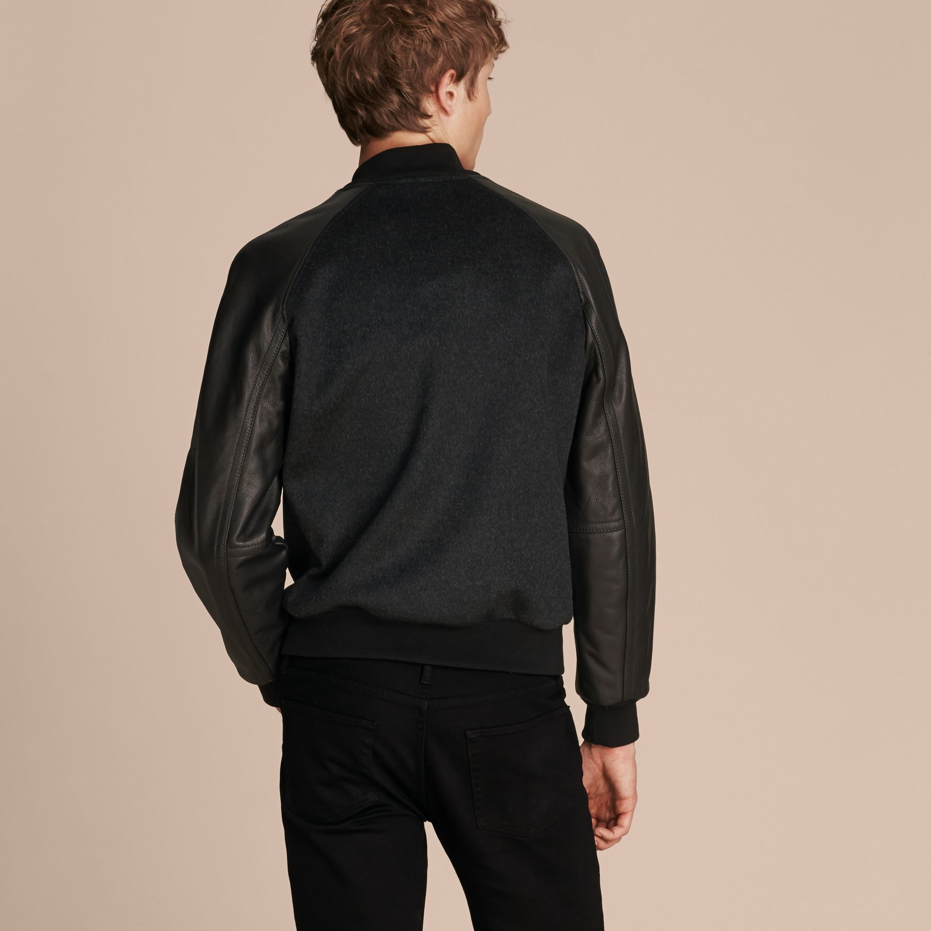 Dark grey melange Wool Cashmere Bomber Jacket with Leather Sleeves - gallery image 3