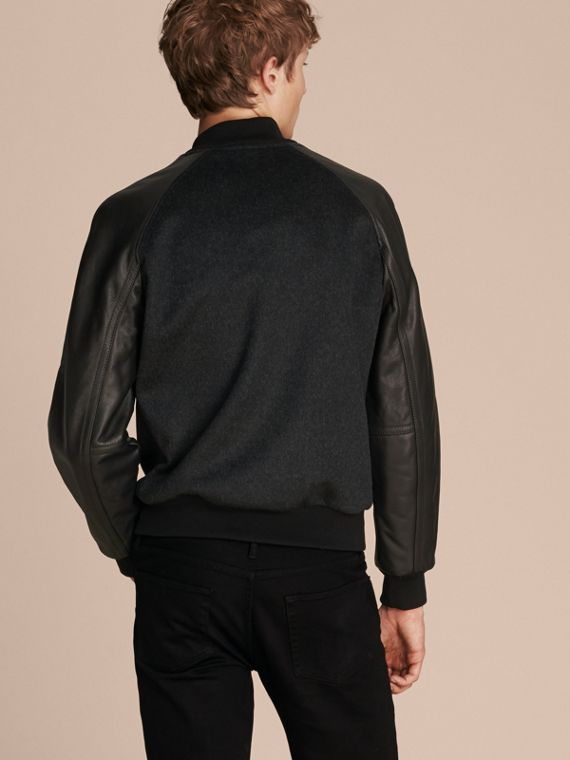 Dark grey melange Wool Cashmere Bomber Jacket with Leather Sleeves - cell image 2