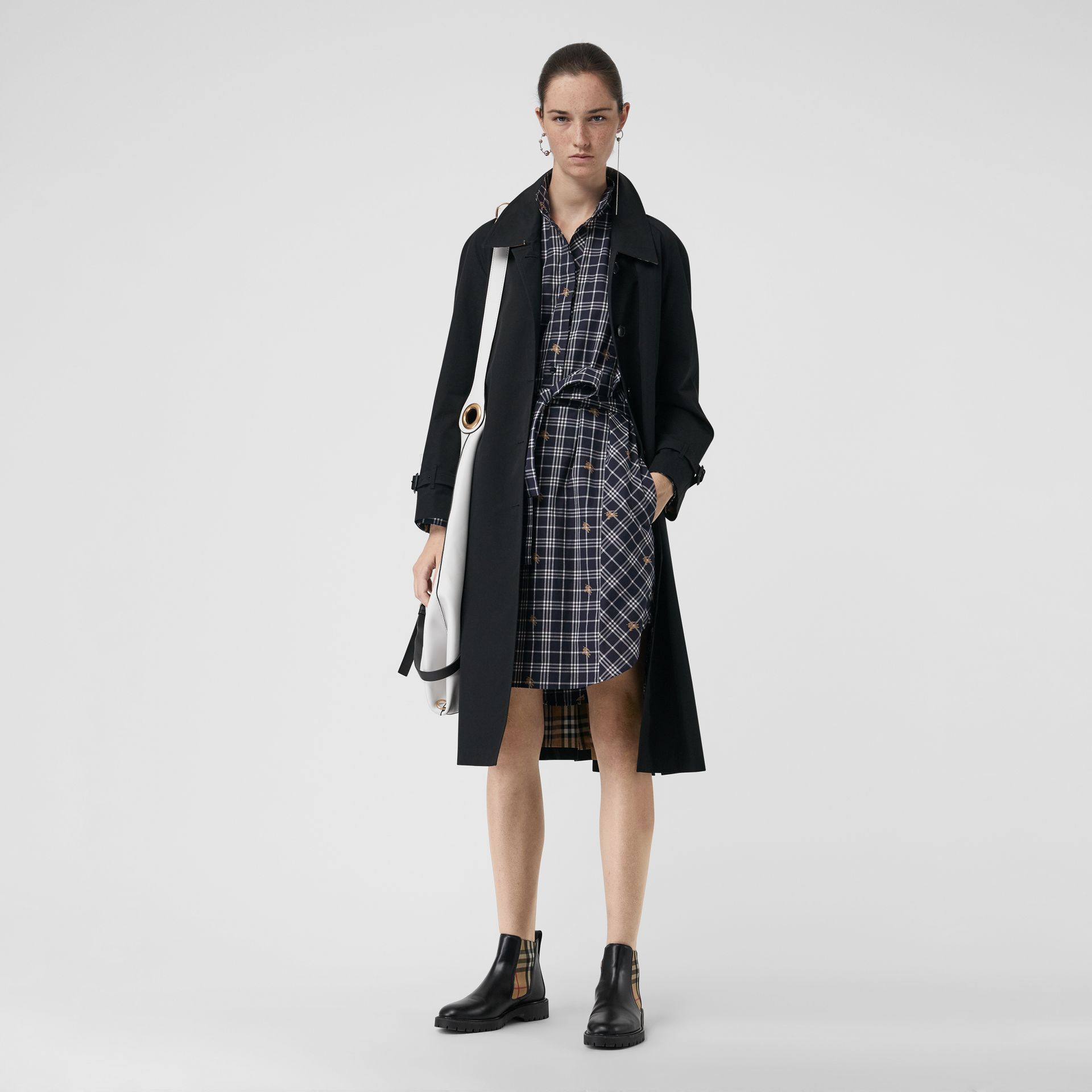 Fil Coupé Check Cotton Tie-waist Shirt Dress in Navy - Women | Burberry United Kingdom - gallery image 0