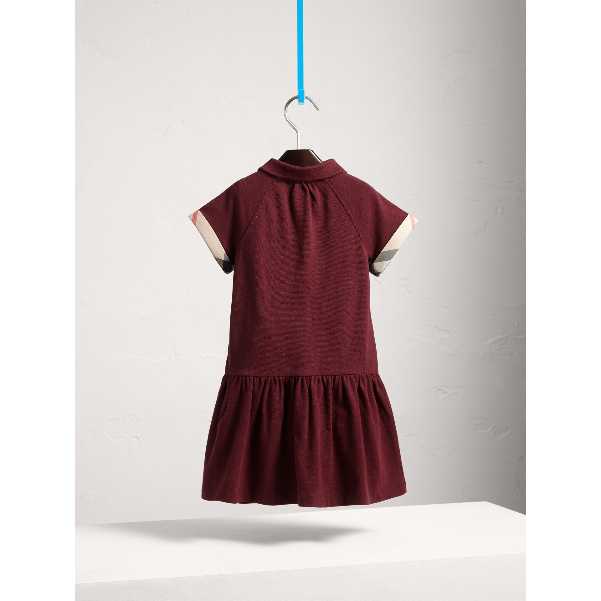 Dropped-waist Stretch Cotton Piqué Dress in Burgundy Melange - Girl | Burberry - gallery image 4