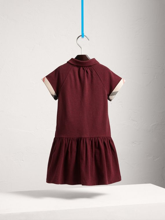 Dropped-waist Stretch Cotton Piqué Dress in Burgundy Melange - Girl | Burberry United States - cell image 3