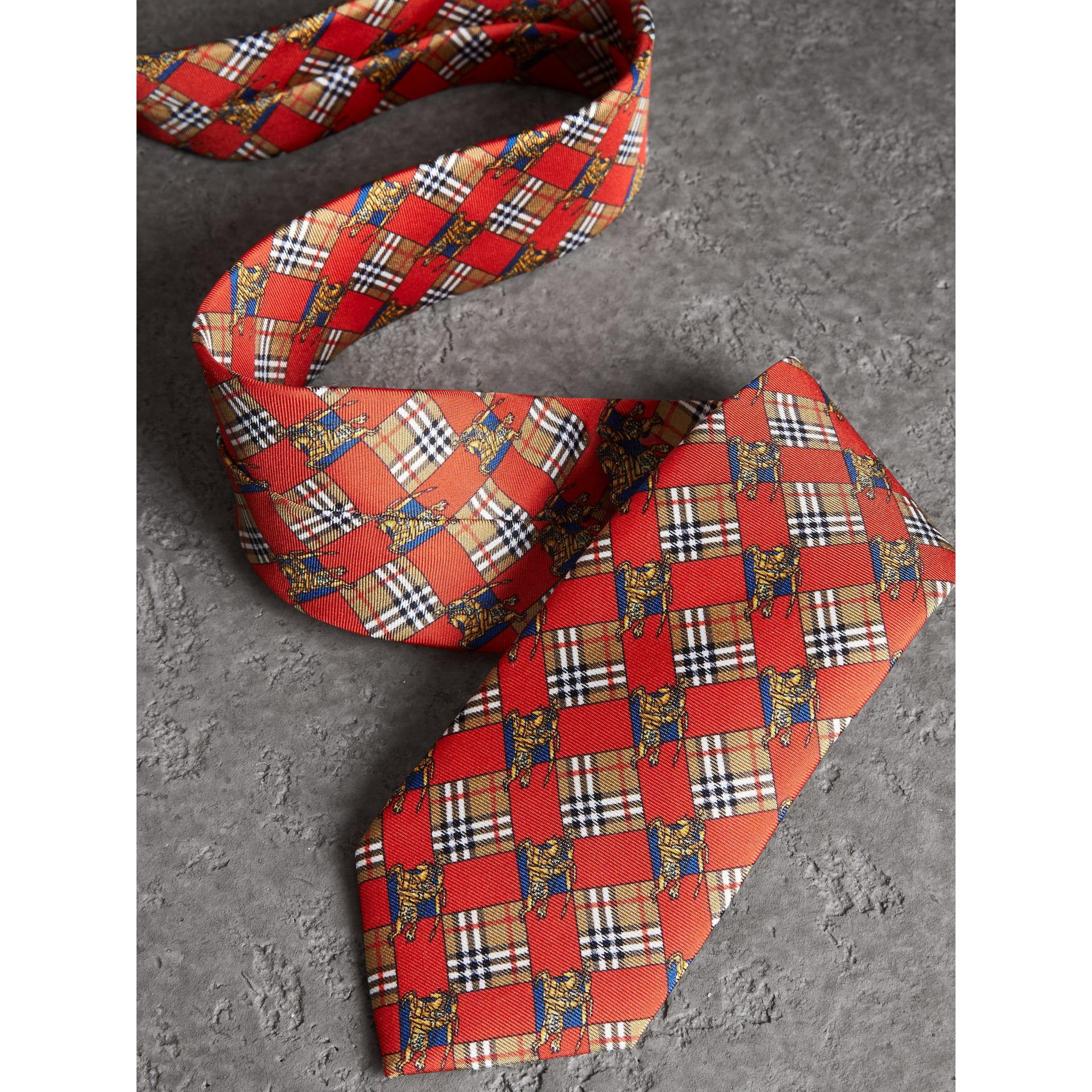 Modern Cut Check and Equestrian Knight Silk Tie in Bright Red - Men | Burberry Australia - gallery image 1