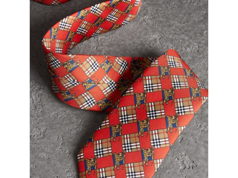 Modern Cut Check and Equestrian Knight Silk Tie in Bright Red - Men | Burberry - cell image 1