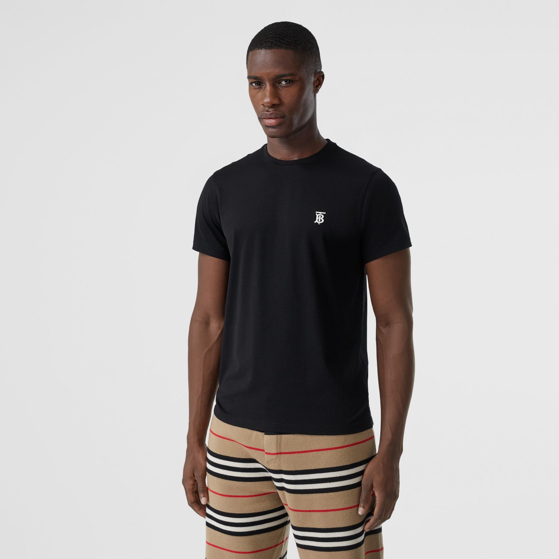 Monogram Motif Cotton T-shirt in Black - Men | Burberry - gallery image 0