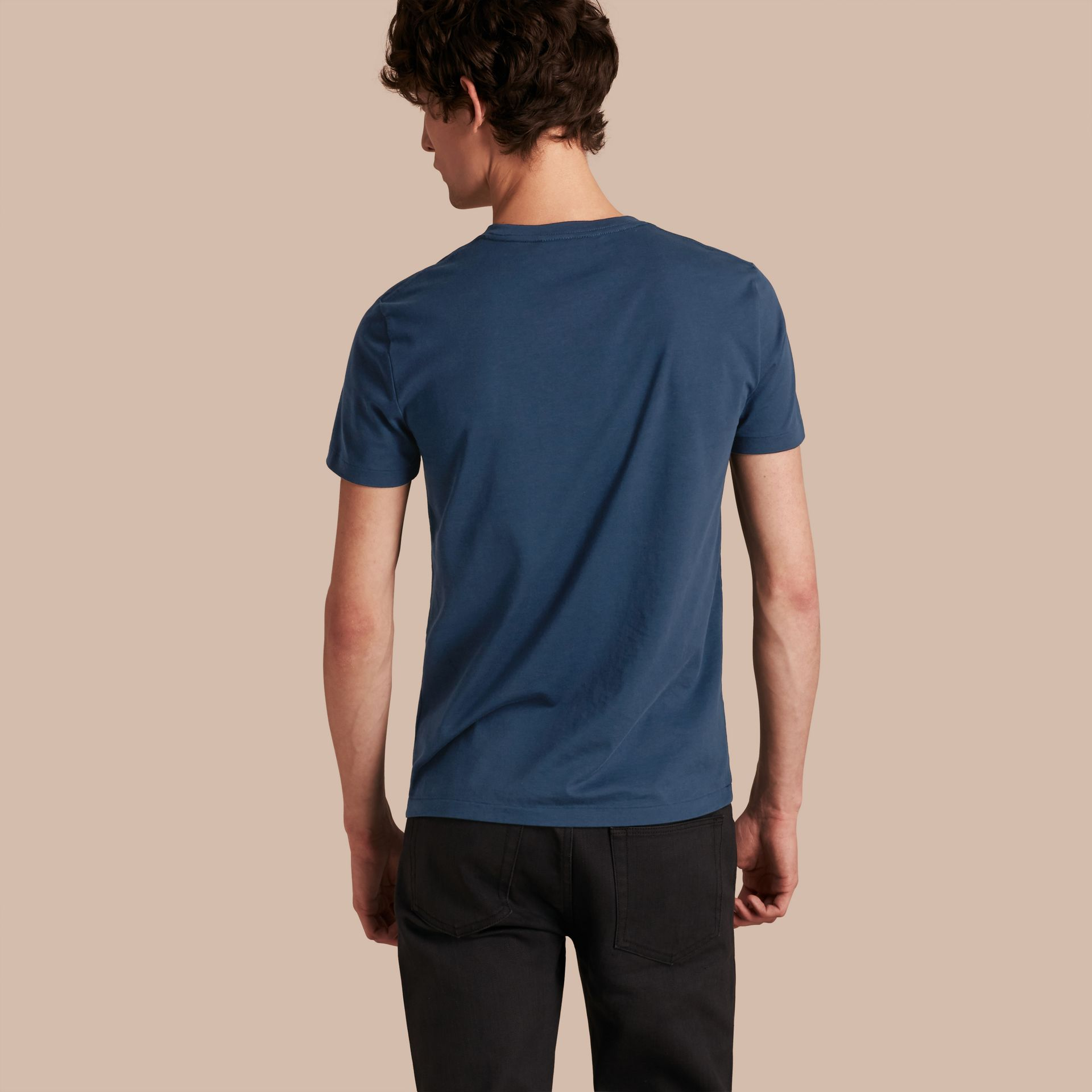 Cotton V-neck T-shirt Navy - gallery image 3