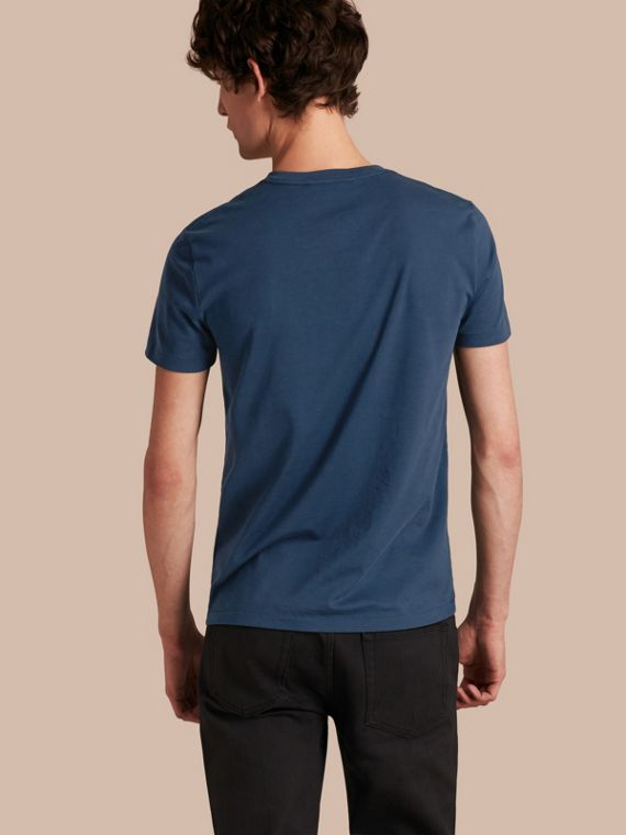 Cotton V-neck T-shirt Navy - cell image 2