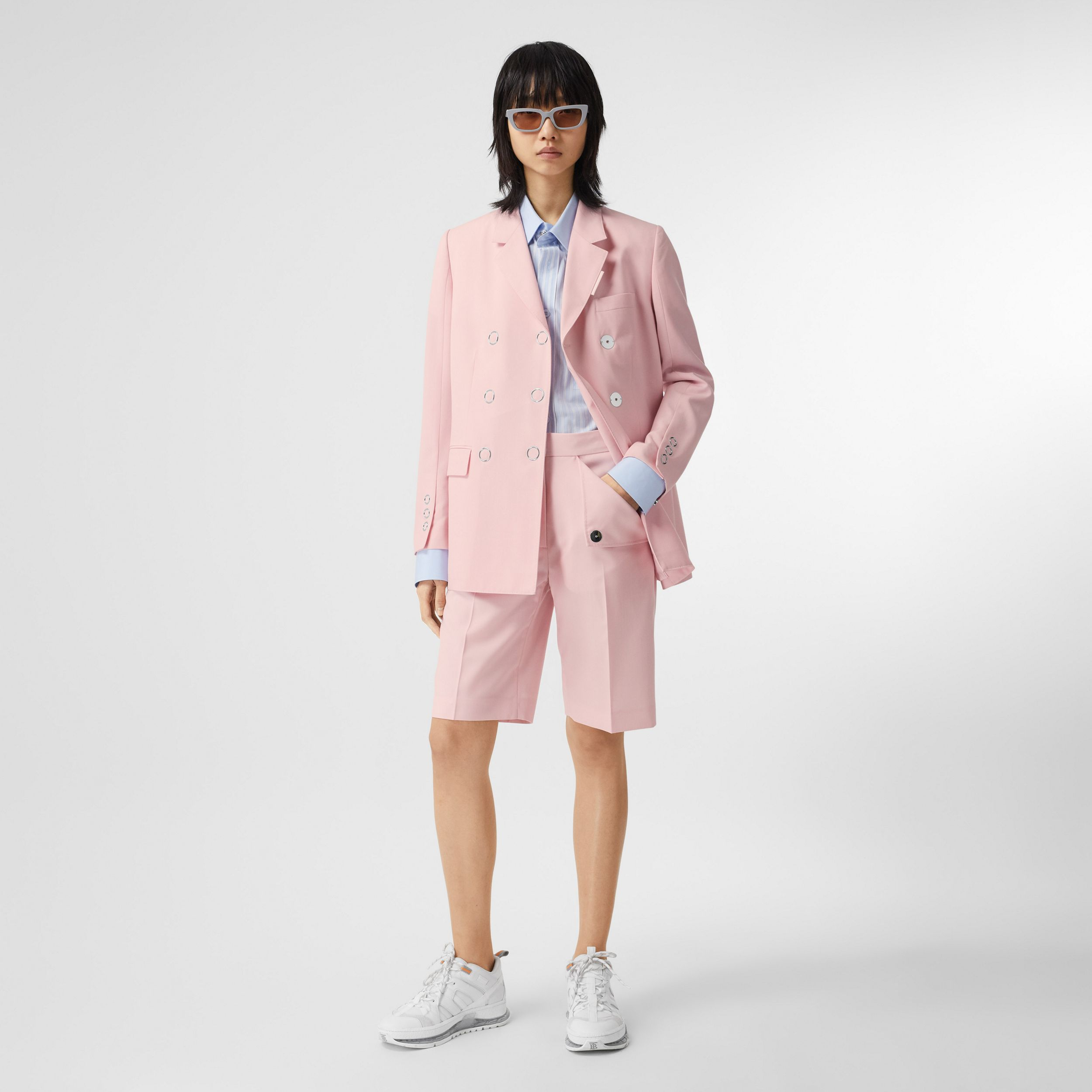 Tumbled Wool Double-breasted Blazer in Soft Pink - Women | Burberry Canada - 1
