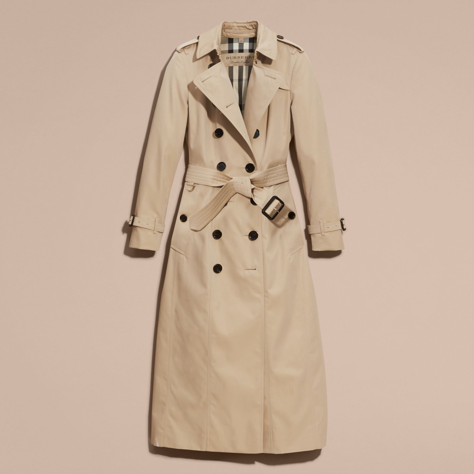 Long Cotton Gabardine Trench Coat - gallery image 4