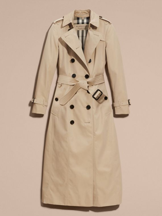 Long Cotton Gabardine Trench Coat - cell image 3