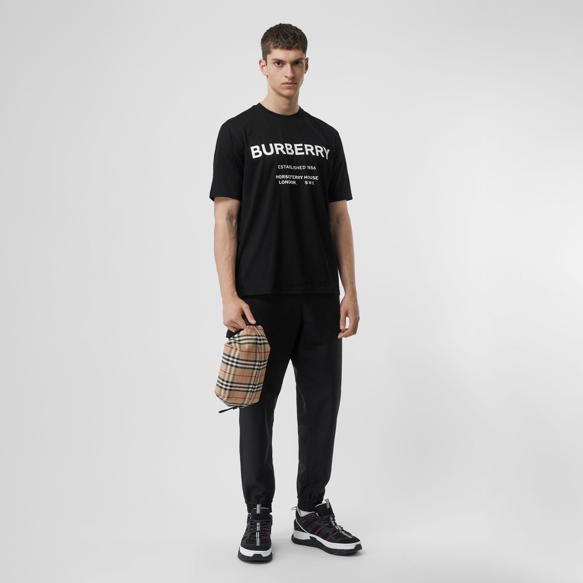 Horseferry Print Cotton T-shirt in Black - Men | Burberry Australia - gallery image 0
