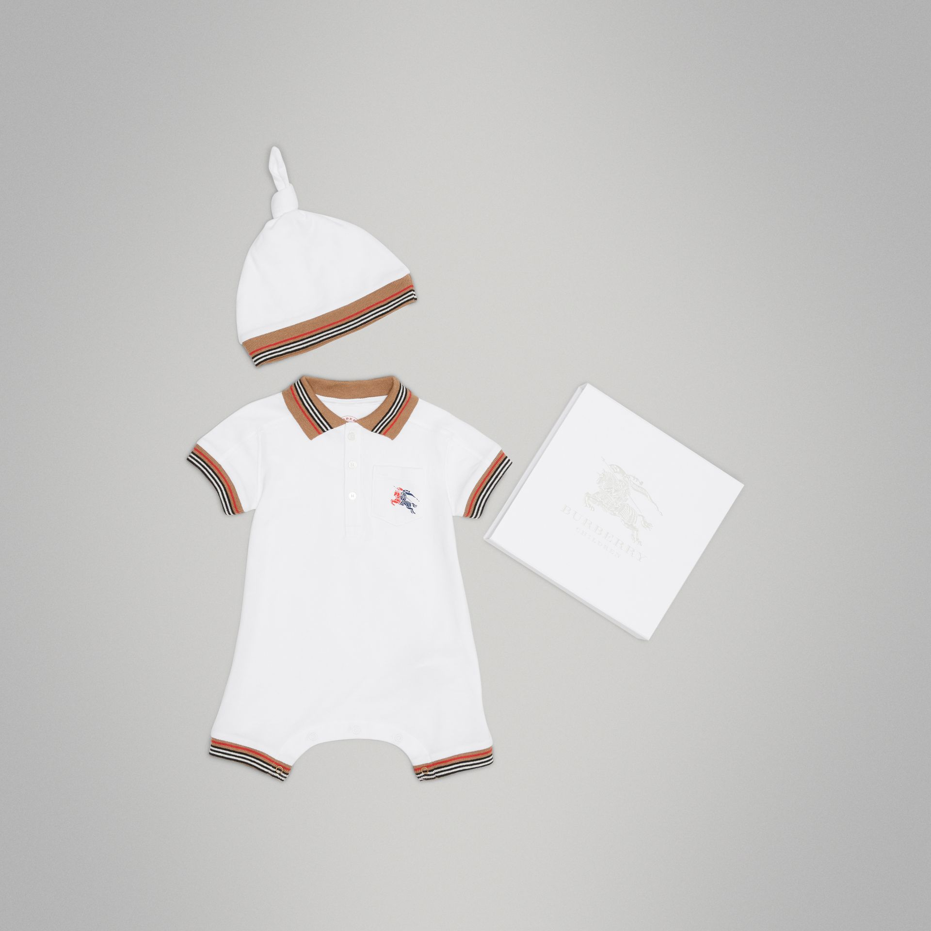 Heritage Stripe Cotton Piqué Two-piece Baby Gift Set in White | Burberry - gallery image 0