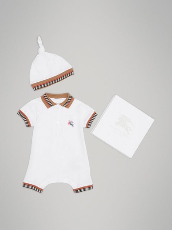 Heritage Stripe Cotton Piqué Two-piece Baby Gift Set in White