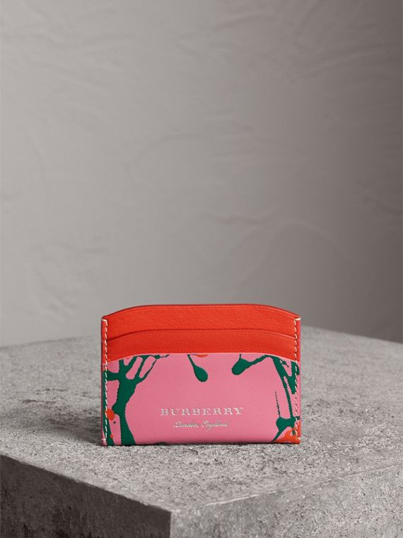 Splash Trench Leather Card Case in Rose Pink/orange Red | Burberry - cell image 3