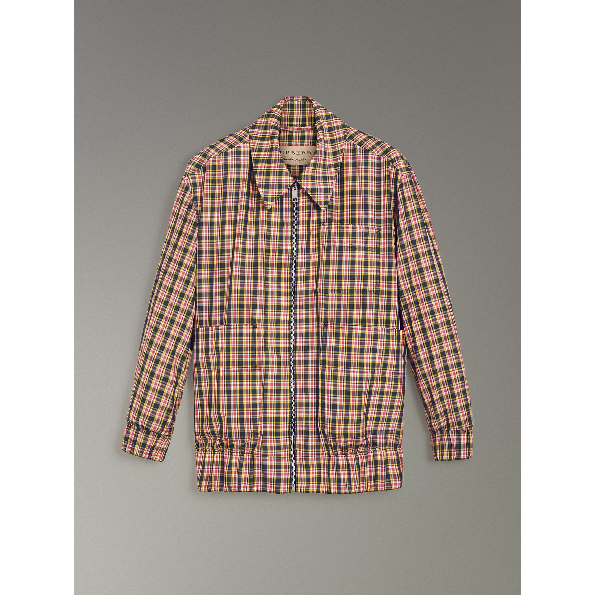 Lightweight Check Harrington Jacket in Bright Coral Pink - Women | Burberry Australia - gallery image 3