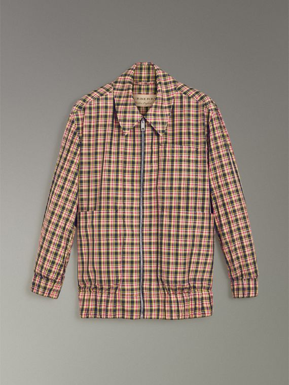 Lightweight Check Harrington Jacket in Bright Coral Pink - Women | Burberry - cell image 3
