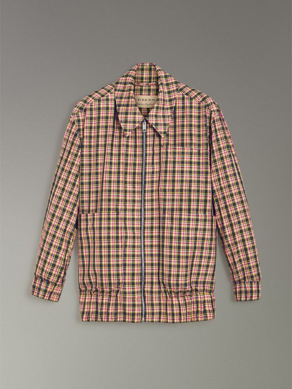 Lightweight Check Harrington Jacket in Bright Coral Pink - Women | Burberry Singapore - cell image 3