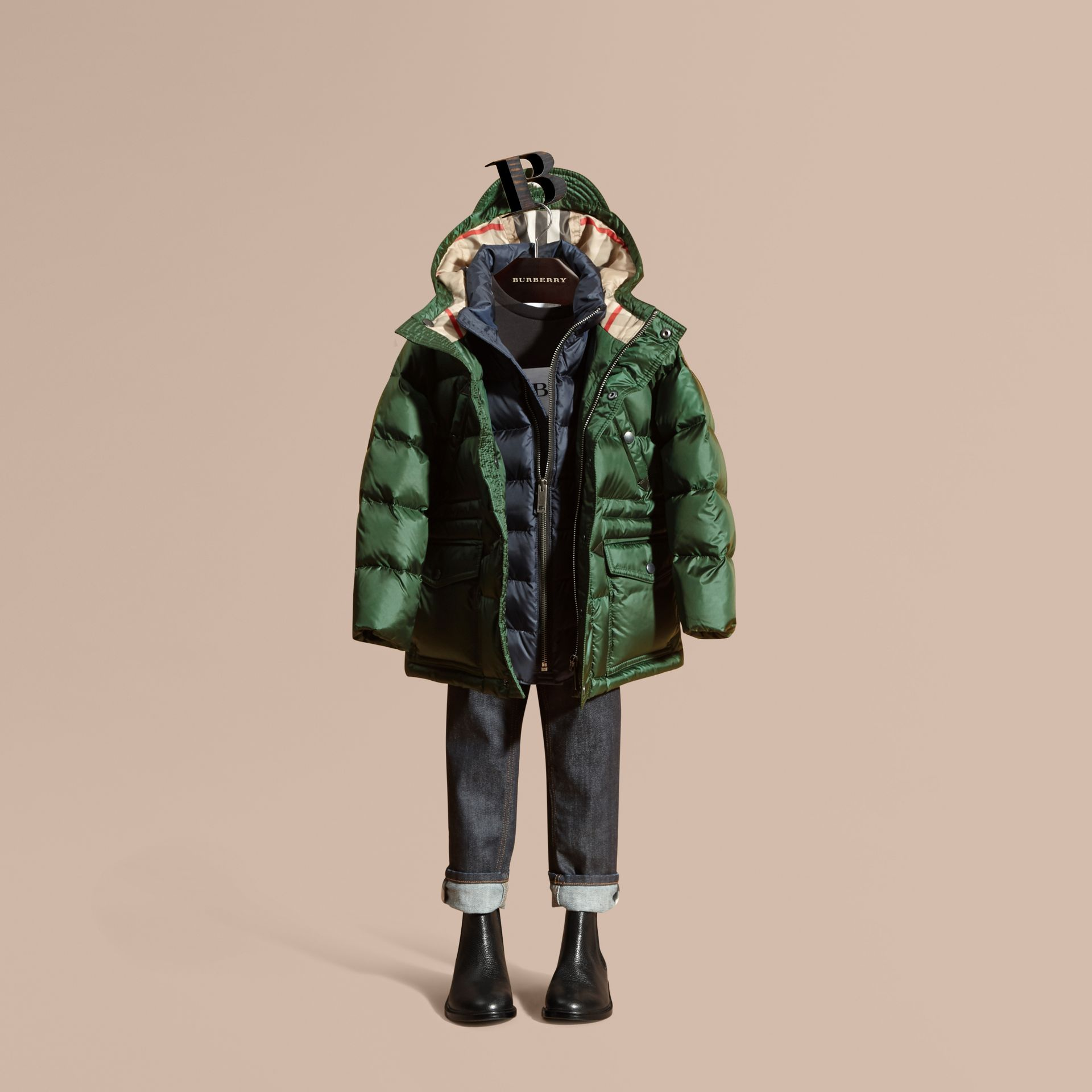 Deep bottle green Down-Filled Hooded Puffer Coat Deep Bottle Green - gallery image 1