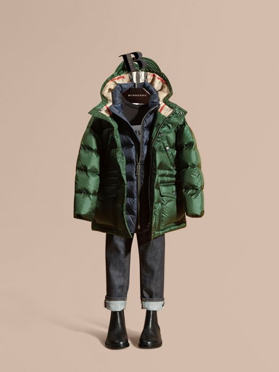 Down-Filled Hooded Puffer Coat Deep Bottle Green