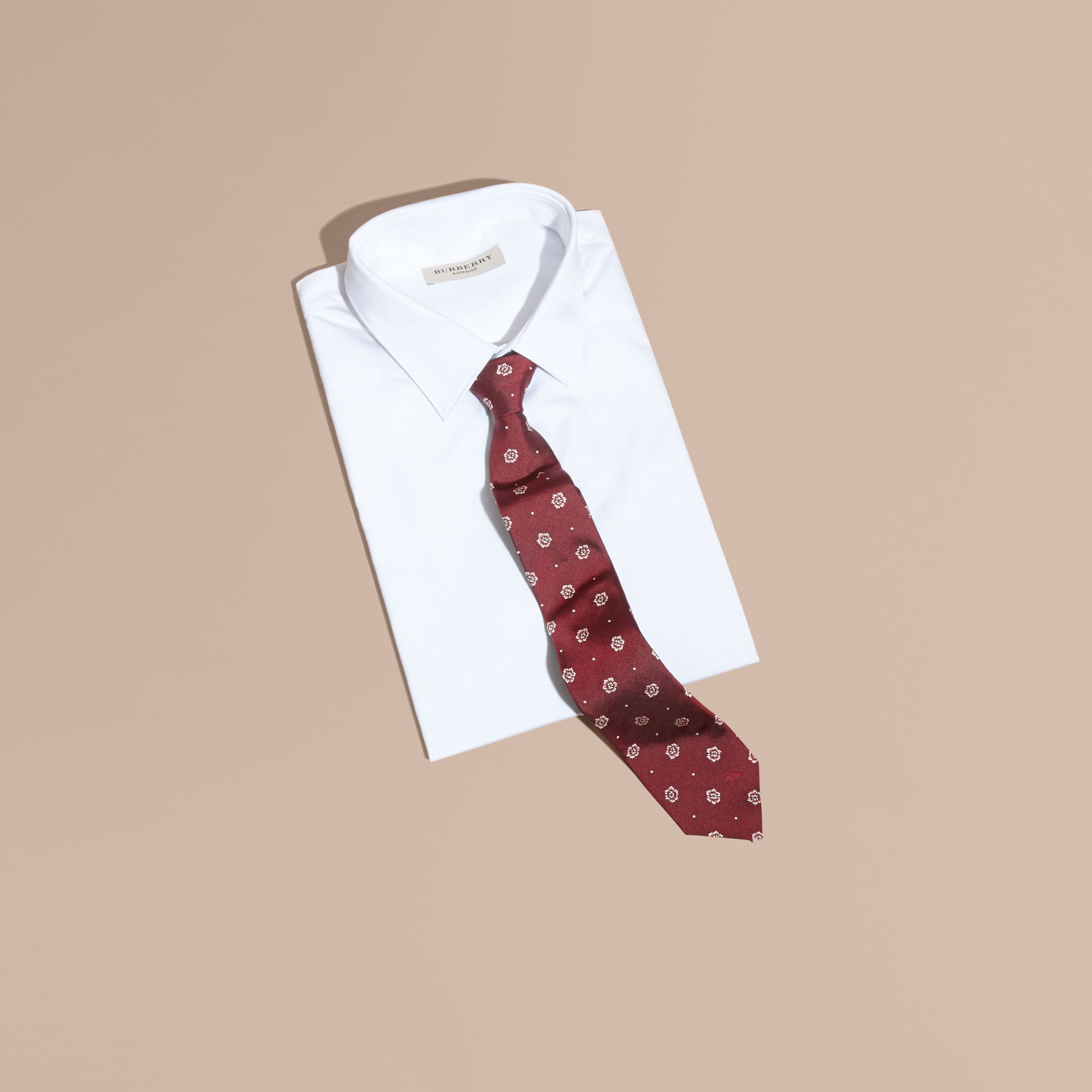 Modern Cut Floral and Spot Jacquard Silk Tie Deep Claret - gallery image 4