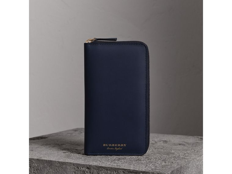 Trench Leather Ziparound Wallet in Ink Blue - Men | Burberry - cell image 4