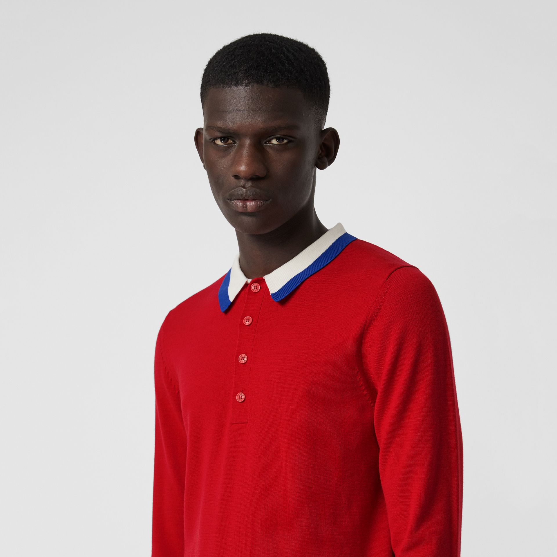 Stripe Detail Merino Wool Long-sleeve Polo Shirt in Bright Red - Men | Burberry - gallery image 1