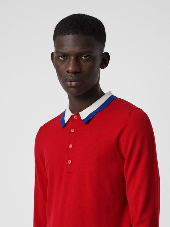 Stripe Detail Merino Wool Long-sleeve Polo Shirt in Bright Red