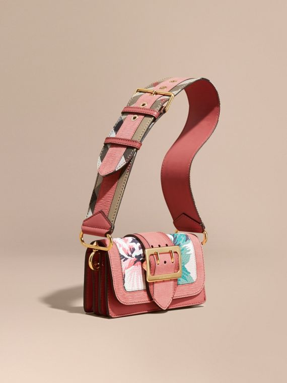 The Small Buckle Bag in Peony Rose Print Leather Copper Pink /emerald