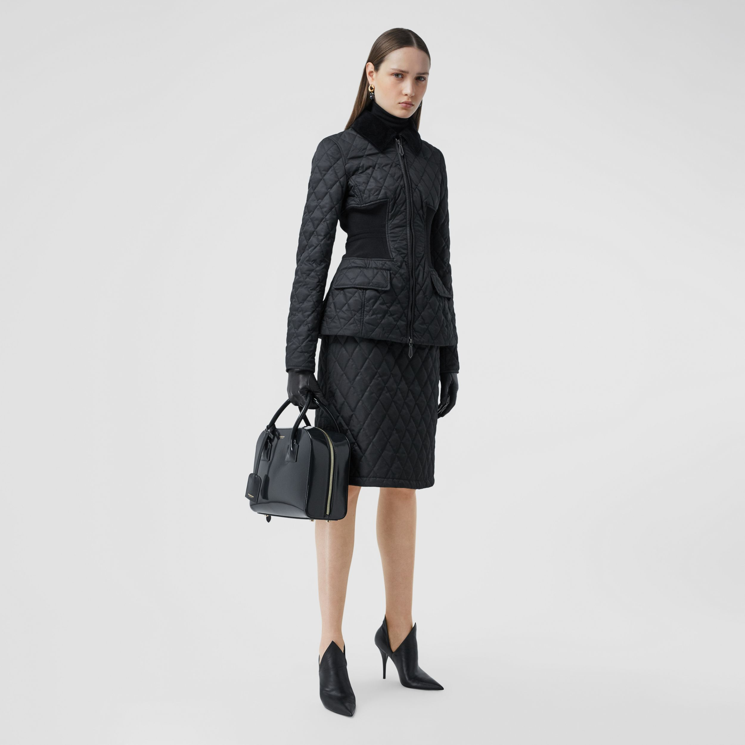 Diamond Quilted A-line Skirt in Black - Women | Burberry - 1