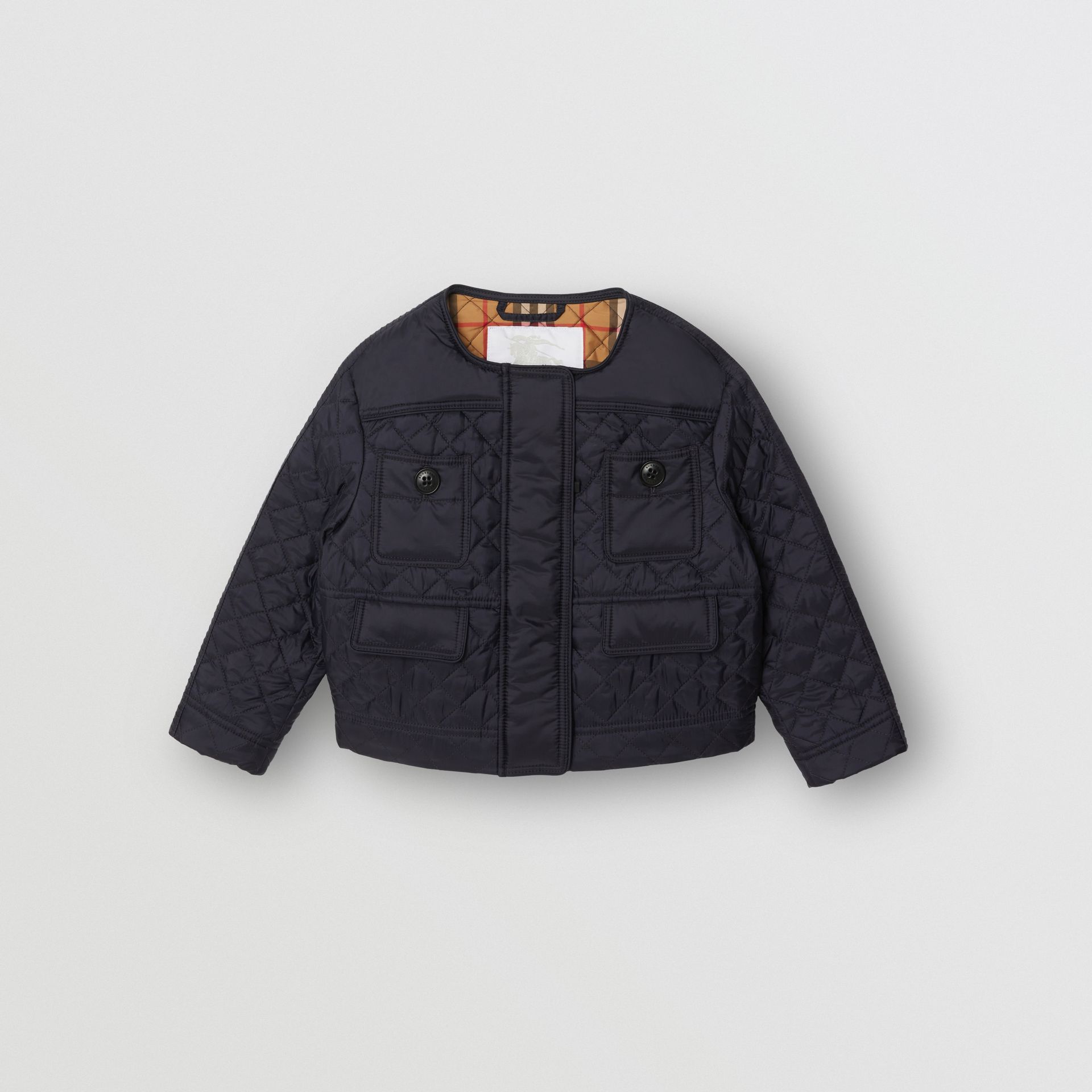 Lightweight Diamond Quilted Jacket in Navy - Children | Burberry - gallery image 0