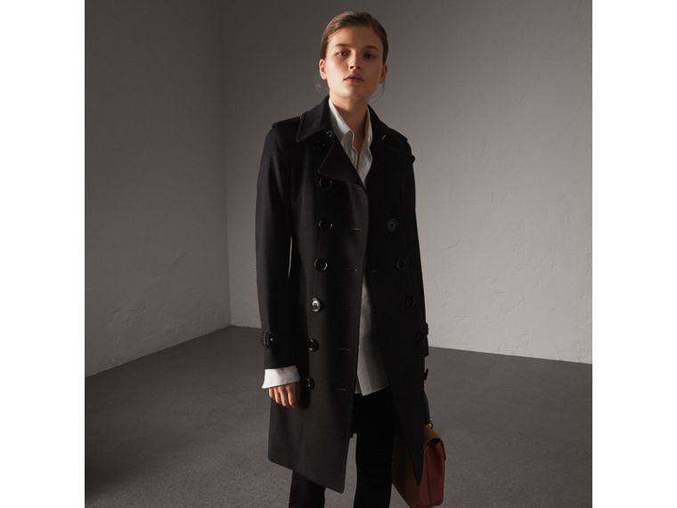 Sandringham Fit Cashmere Trench Coat in Black - Women | Burberry Canada - cell image 4