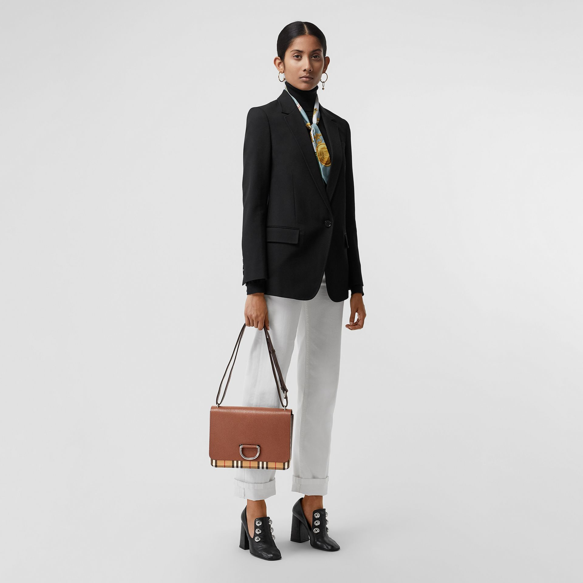 The Medium Vintage Check and Leather D-ring Bag in Tan/black - Women | Burberry United States - gallery image 2