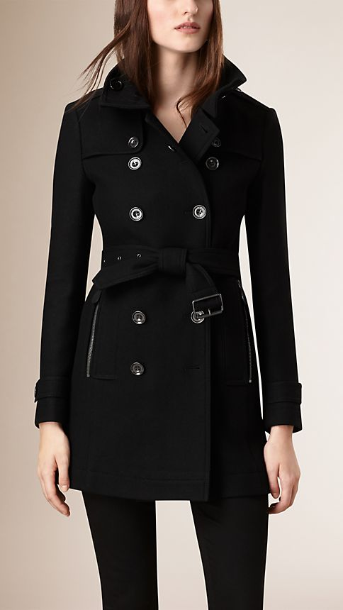 Black Short Double Wool Twill Trench Coat - Image 5