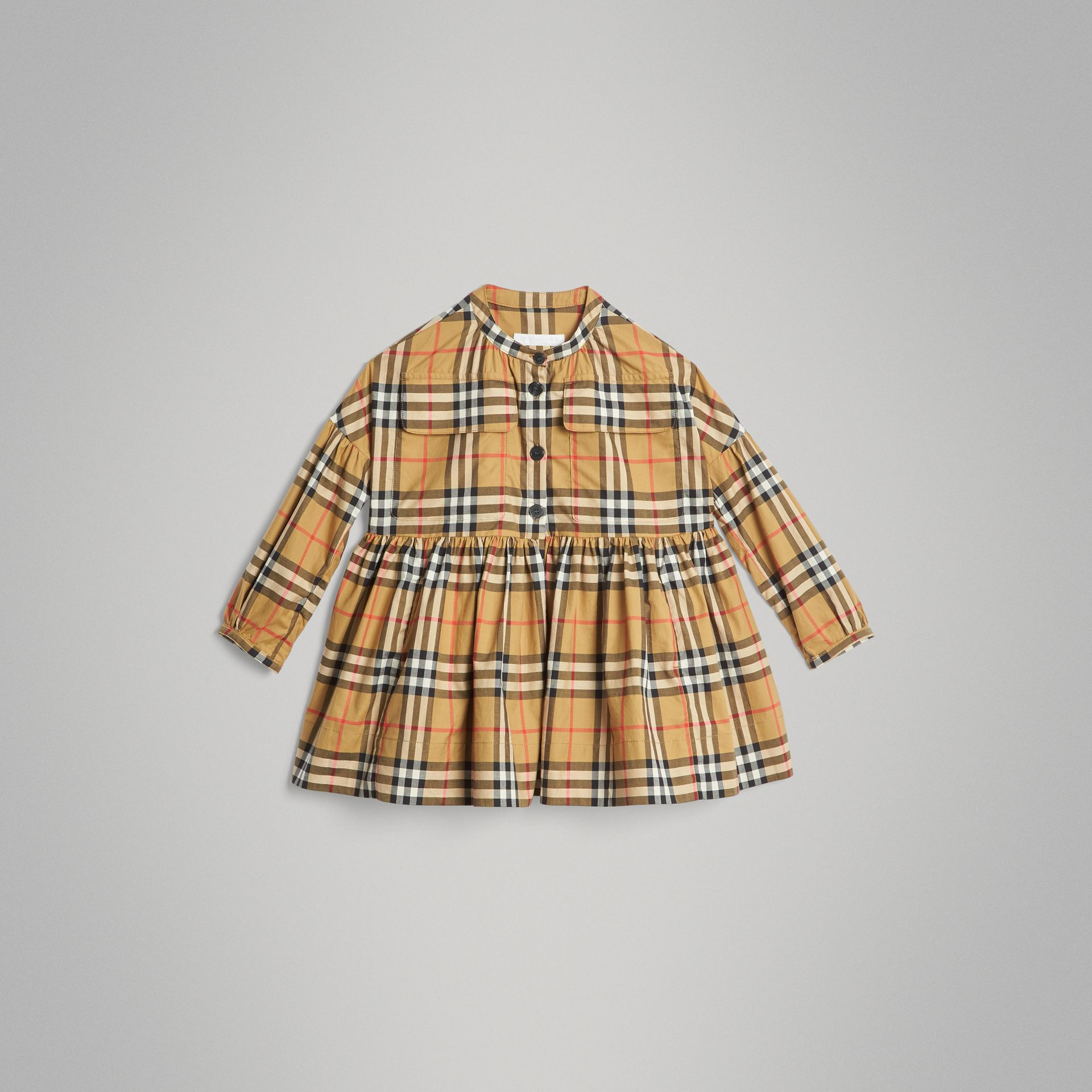 Gathered Sleeve Vintage Check Cotton Dress in Antique Yellow | Burberry Singapore - gallery image 0