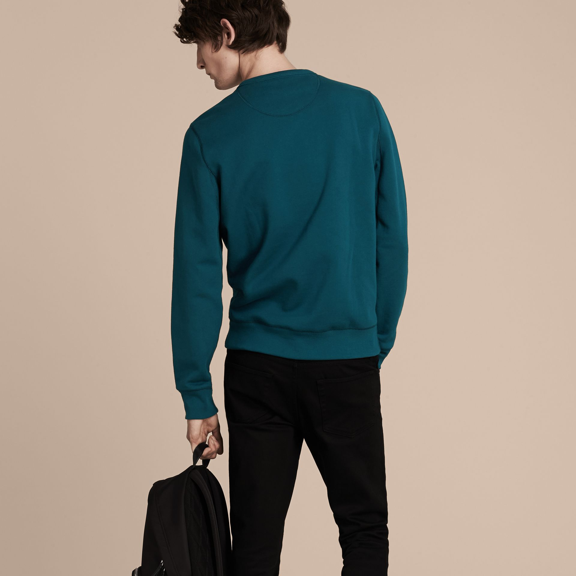 Mineral blue Cotton Blend Jersey Sweatshirt Mineral Blue - gallery image 3