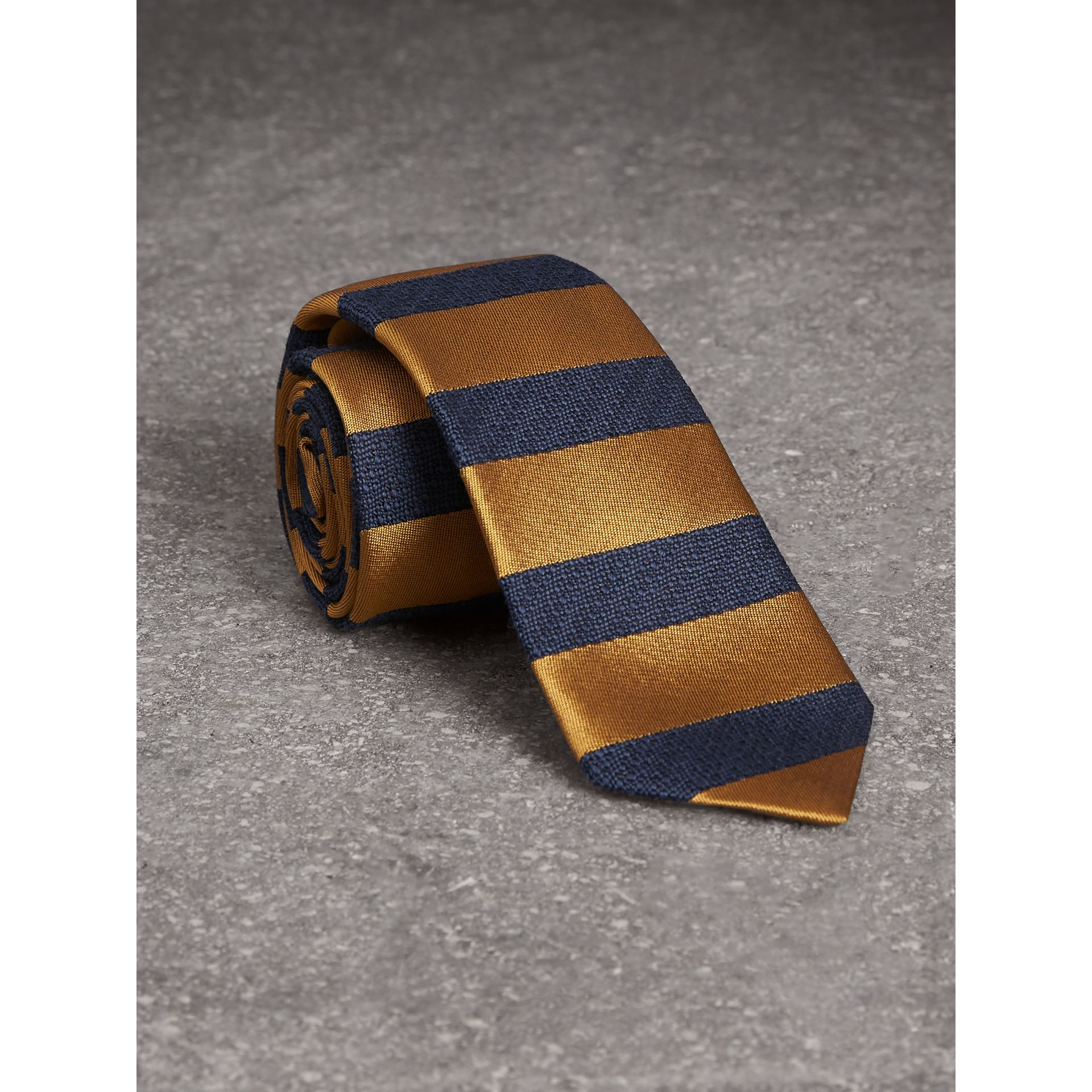 Slim Cut Striped Silk Wool Tie in Amber Yellow - Men | Burberry United Kingdom - gallery image 1