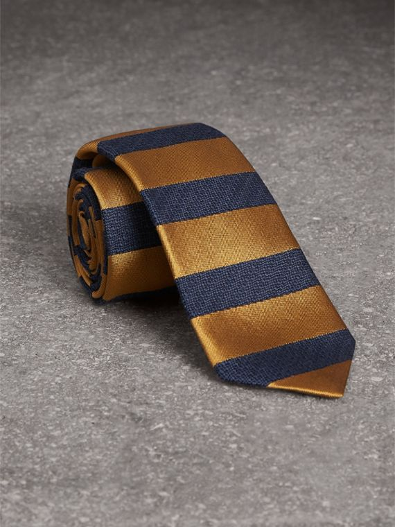 Slim Cut Striped Silk Wool Tie in Amber Yellow