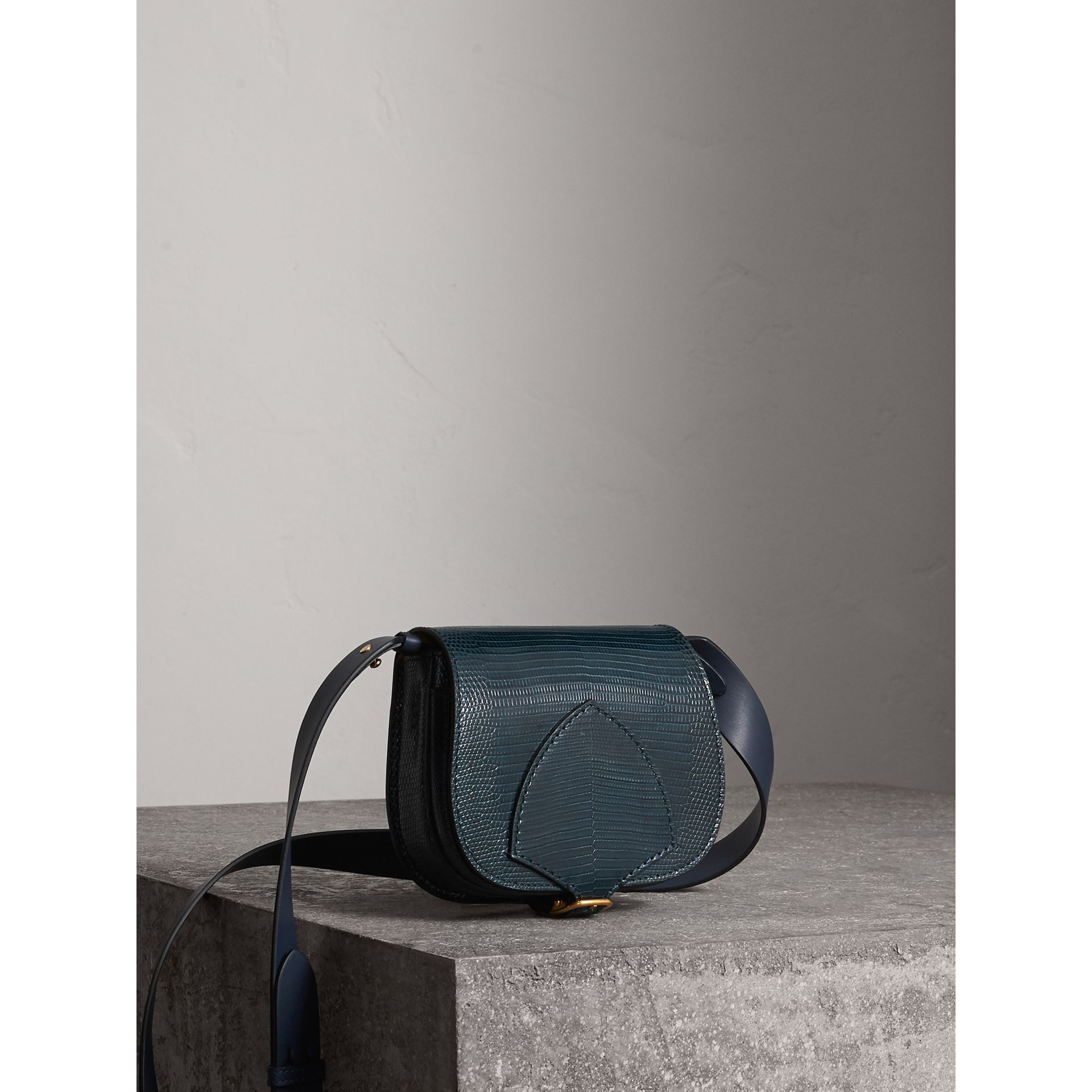 The Satchel in Lizard in Navy - Women | Burberry - gallery image 8