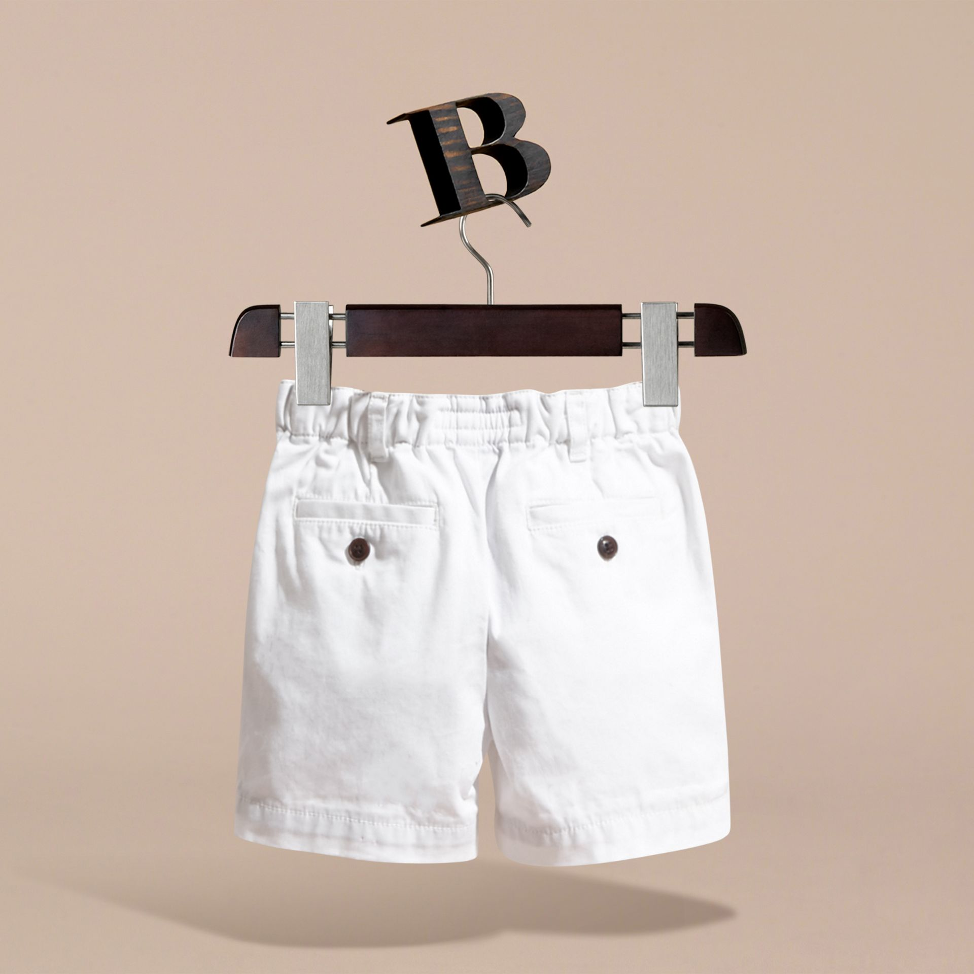 Check Detail Cotton Chino Shorts in White | Burberry Hong Kong - gallery image 4