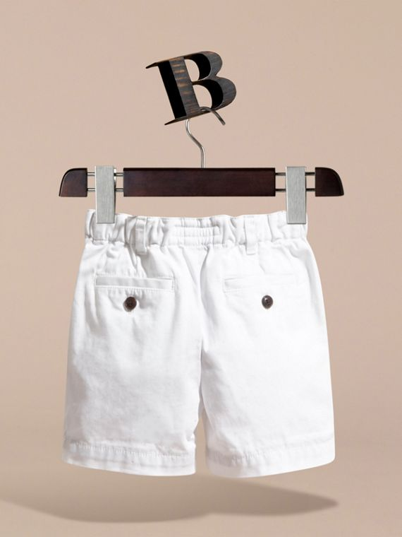 Check Detail Cotton Chino Shorts in White | Burberry Hong Kong - cell image 3