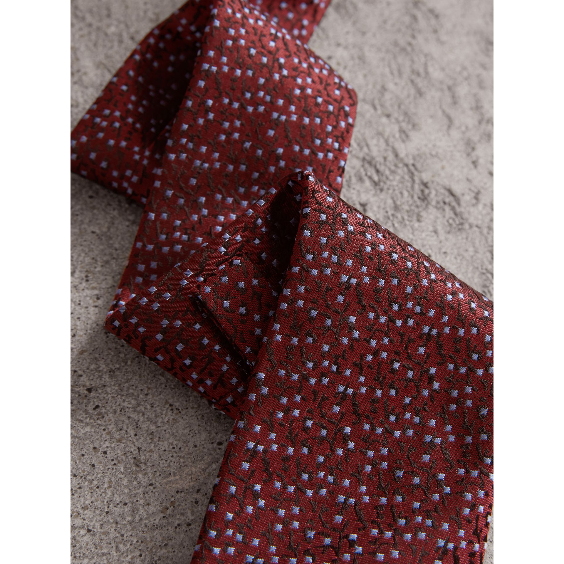 Modern Cut Floral Spot Silk Tie in Burgundy - Men | Burberry Australia - gallery image 1