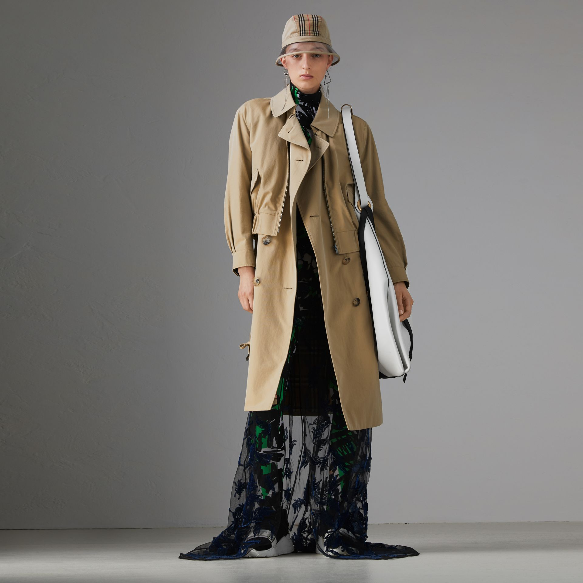 Tropical Gabardine Reconstructed Harrington Trench Coat in Honey - Women | Burberry - gallery image 0