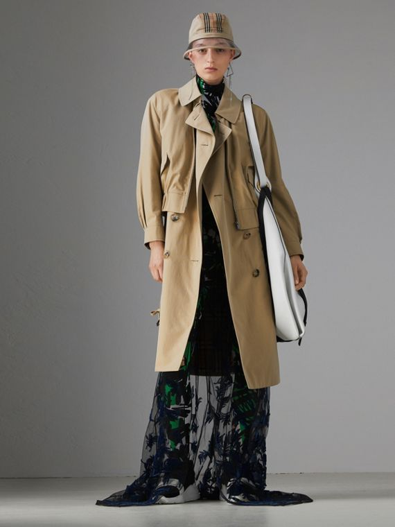 Tropical Gabardine Reconstructed Harrington Trench Coat in Honey