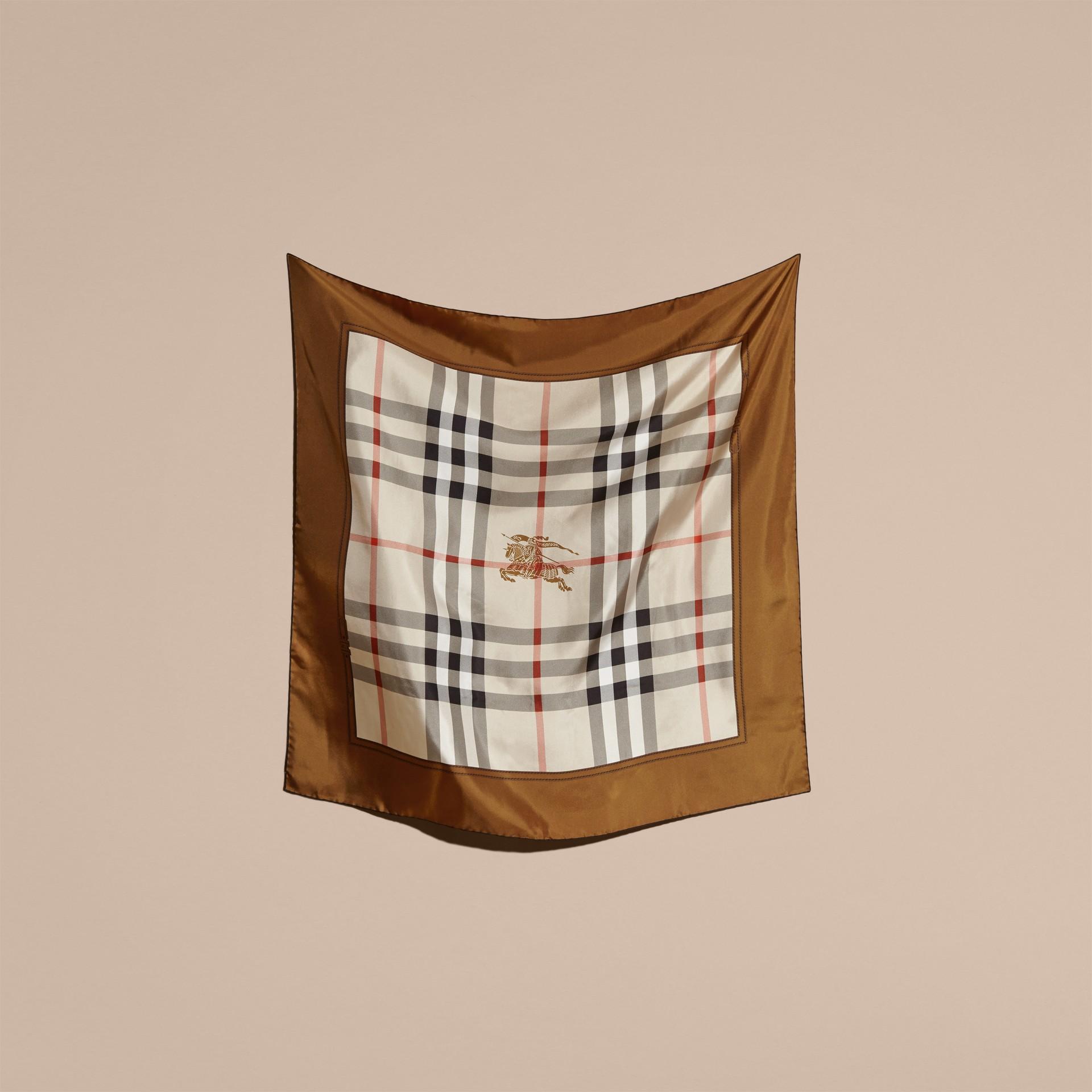 Tan Horseferry Check Silk Square – Medium Tan - gallery image 5