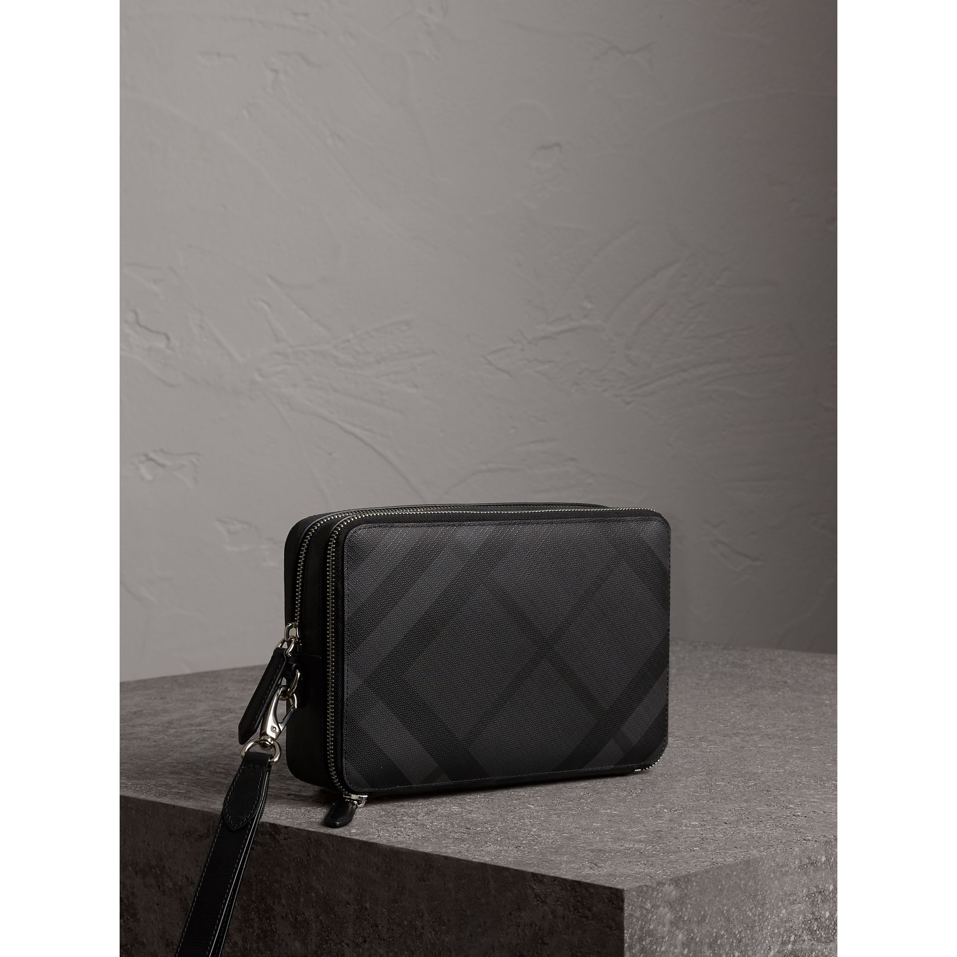 Leather Trim London Check Pouch in Charcoal/black - Men | Burberry - gallery image 6
