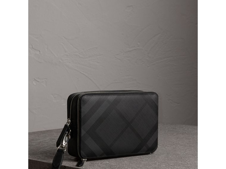Leather-trimmed London Check Pouch in Charcoal/black - Men | Burberry - cell image 4