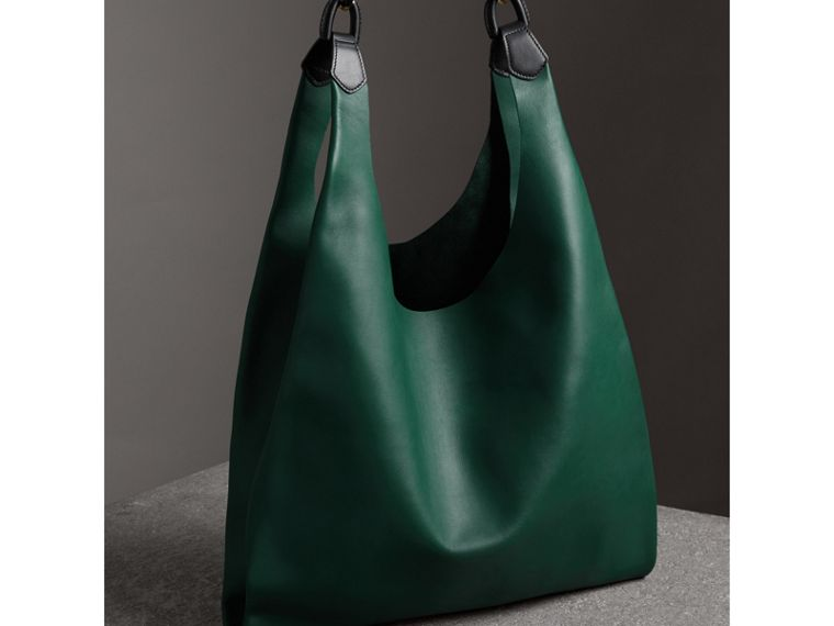 Medium Two-tone Leather Shopper in Racing Green - Women | Burberry - cell image 4