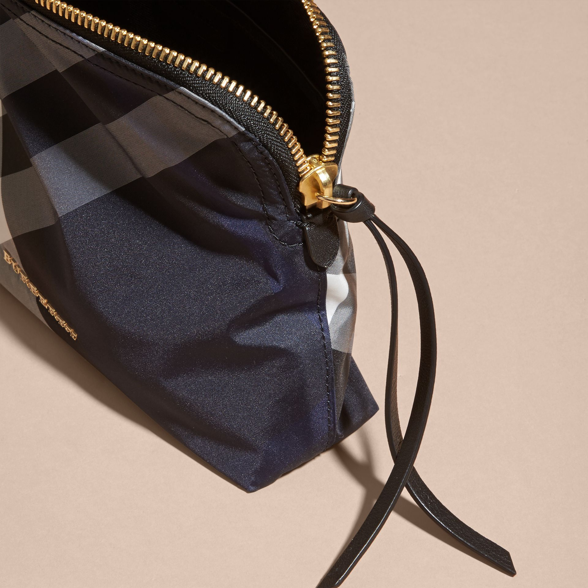 Large Zip-top Check Pouch in Indigo Blue - Women | Burberry Canada - gallery image 2