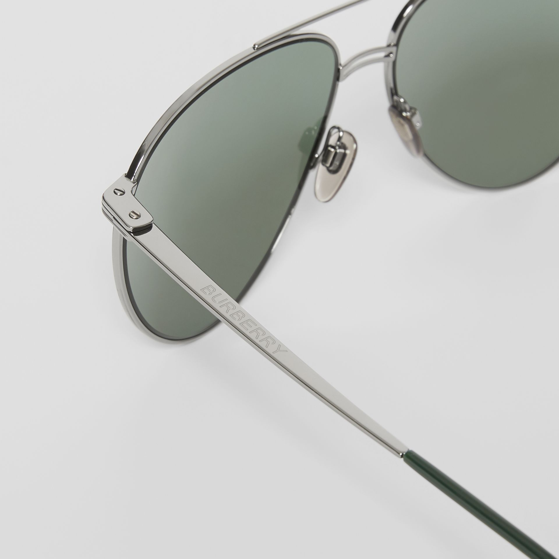 Top Bar Detail Pilot Sunglasses in Gunmetal/dark Green - Men | Burberry - gallery image 1