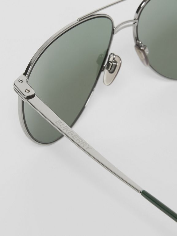 Top Bar Detail Pilot Sunglasses in Gunmetal/dark Green - Men | Burberry United States - cell image 1